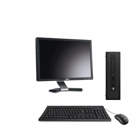 HP EliteDesk 800 G1 format SFF reconditionné - 8Go - 500Go  SSD - w10 - Ecran20