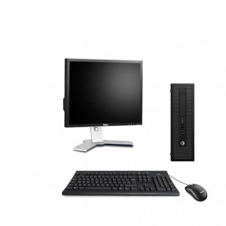 HP EliteDesk 800 G1 format SFF reconditionné - 4Go - 120Go SSD - Linux - Ecran19