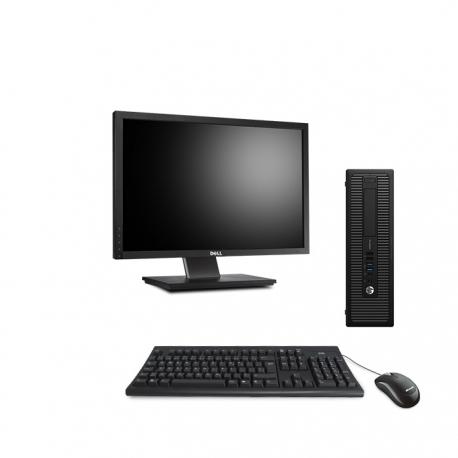 HP EliteDesk 800 G1 format SFF reconditionné - 4Go - 500Go SSD - Linux - Ecran22