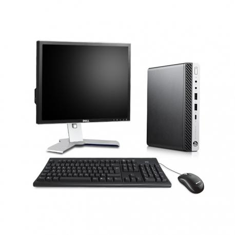 Pack HP EliteDesk 800 G3 DM avec écran 19 pouces - 4Go - SSD 240 Go