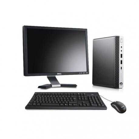 Pack HP EliteDesk 800 G3 DM avec écran 20 pouces - 4Go - SSD 120 Go