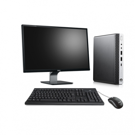 Pack HP EliteDesk 800 G3 DM avec écran 23 pouces - 4 Go - SSD 240 Go