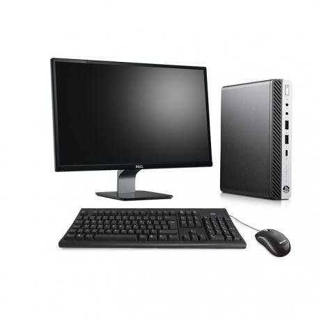 Pack HP EliteDesk 800 G3 DM avec écran 23 pouces - 4 Go - SSD 120 Go - Linux