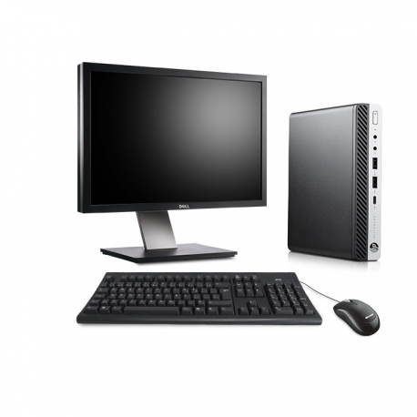 Pack HP EliteDesk 800 G3 DM avec écran 24 pouces - 4 Go - 500 Go HDD