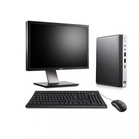 Pack HP EliteDesk 800 G3 DM avec écran 24 pouces - 4 Go - SSD 500 Go