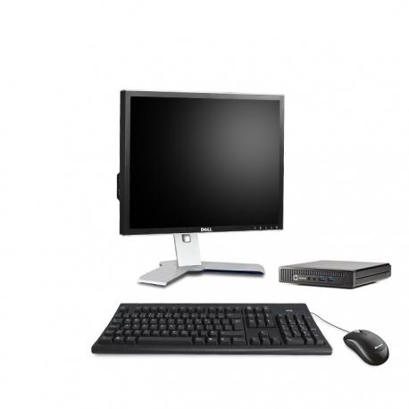 Pack HP EliteDesk 800 G1 DM avec écran 19 pouces - 4 Go - SSD 120 Go - Linux