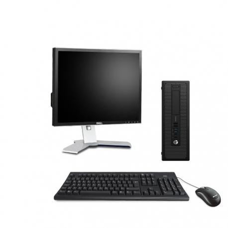 Pack HP EliteDesk 800 G1 SFF - 4Go - 500Go SSD + Ecran 19''