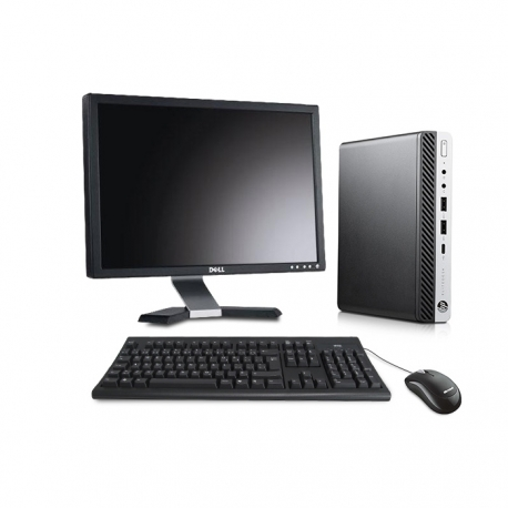 Pack HP EliteDesk 800 G3 DM avec écran 20 pouces - 8Go - SSD 240 Go