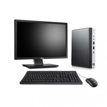 Pack HP EliteDesk 800 G3 DM avec écran 22 pouces - 4 Go - SSD 120 Go - Linux