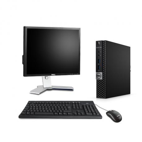 """Pack PC bureau reconditionné - Dell OptiPlex 7040 Micro - 8Go - SSD 500 Go + Écran 19"""""""