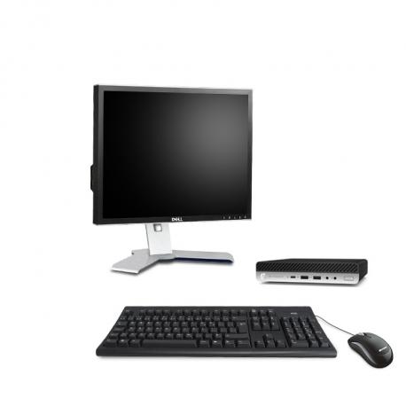 """HP EliteDesk 800 G4 DM - PC de bureau reconditionné - 8Go - 240Go SSD - écran 19"""""""