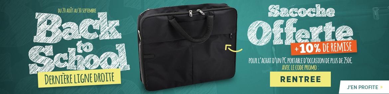 Sacoche offerte pour l'achat d'un PC portable d'occasion d'une valeur supérieure à 250€